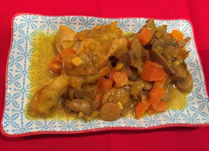 Muslos de Pollo con Zanahorias y Champiñones